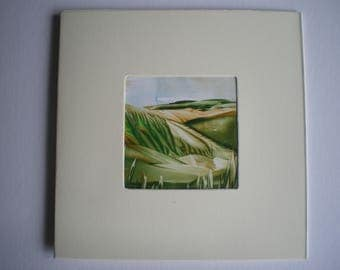 Devils Dyke - South Downs inspired original encaustic wax art greetings card