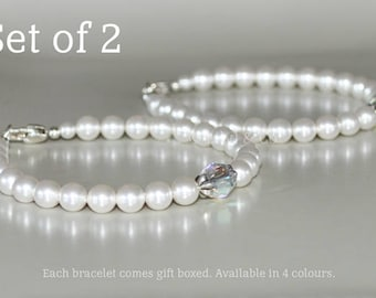 Pearl and Crystal Bracelet Set of 2, Swarovski Pearls, Swarovski Crystal, Bridesmaid Bracelet Set, White, Cream Rose , Rosaline , Lavender