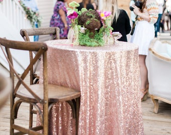 Blush Sequin Tablecloth | Sequin Table Linen | Rose Gold Sequin Tablecloth | Wedding Linens | Wedding Tablecloth | Table Decor | Table Cover