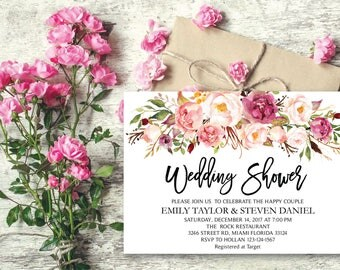 Wedding Shower Invitation, Fun Floral Bridal Shower Card, Couples Shower Invite, Editable Card Printable Instant Download, Wedding Shower 21