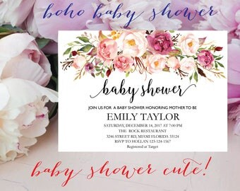 Floral Baby Shower Invitation, It's a Girl Shower Invite, Bridal Shower Card, Floral Baby Shower, Boho Girl Baby Invite, Instant Download 13