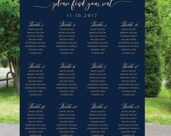 PRINTABLE Wedding Seating Chart, Wedding Seating Chart, Wedding seating template, Navy seating chart, Seating chart, Find Your Seat SC63