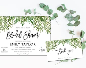 Bridal Shower Invitation, Greenery Wedding Printable , Greenery Bridal, Editable Bridal Shower Invitation, Greenery, Instant Download, ABR10