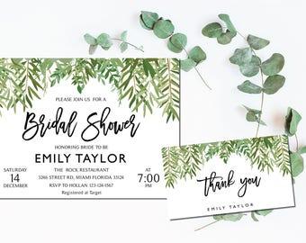 Bridal Shower Invitation, Greenery Wedding Printable , Greenery Bridal, Editable Bridal Shower Invitation, Greenery, Instant Download, ABR10