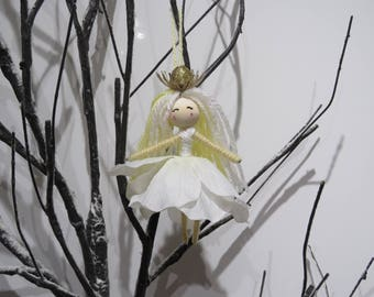 Snow Queen Fairy waldorf Doll, Princess Fairy Ornament, Flower Fairy Doll, Gift for Girls, miniature doll, Fairy Girl Figurine, flower fairy