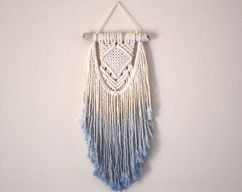 AZURE •><• macrame wall hanging dip dye ombre blue boho decor