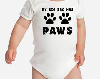 Dog Brother Baby Onesie, Furry Siblings, Dog Baby Onesie, Dog Lover Baby Tshirt, Dog Onesie, Baby Shower, Funny Baby Gift