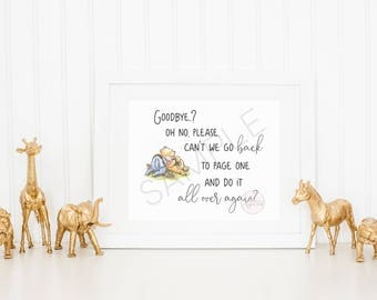 Can't We Go Back Again Classic Winnie the Pooh Landscape Quote Print   Kid's room decor Wall Art   Classic Winnie the Pooh Nursery Decor Art
