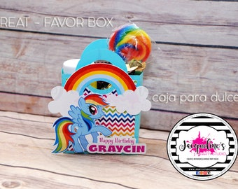 My Little Pony treat box, my little pony favor box, my little pony party,  SET OF 6