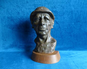 Plaster bust of a miner-Belgian-French school-not clearly signed