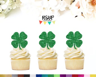Shamrock Cupcake Toppers, 4 Leaf Clover Cupcake Toppers, St. Patrick's Party Decor, St. Patty's Party Decor, St. Paddy's, Kiss Me I'm Irish