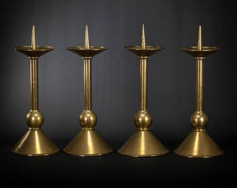 "Stunning 17"" Large Antique Set of Four Gilded Brass Candlesticks 4 Vintage Church Candle Holders"