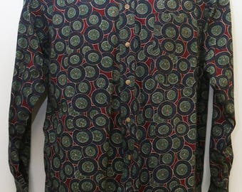 """90's Vintage """"ROUNDTREE & YORKE"""" Long-Sleeve Pattern Shirt Sz: SMALL (Men's Exclusive)"""