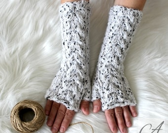 Winter long gloves, Very warm and soft fingerless gloves, Woman wool long gloves