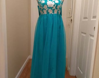 SALE Stunning 1960s Blue and Silver Gown