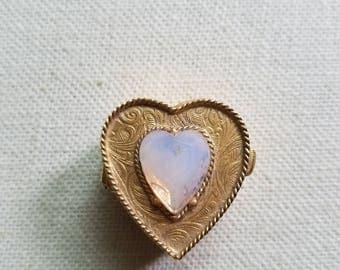 Florenza Signed - Vintage Gold tone pill box