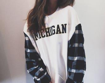 ANY SCHOOL** College Plaid Sleeves Crewneck Sweatshirt