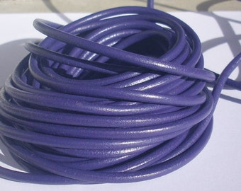 20 cm leather cord 4 mm - purple