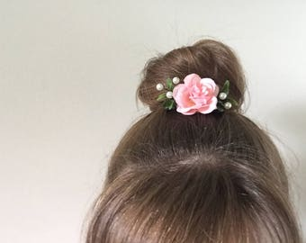 Floral Decorative Hair Comb: Pink, Pearls