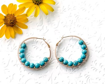 Christmas Gift Ideas|for|Her Present|for|Woman Gift Turquoise Earrings Rose Gold Earrings Hoop Earrings Turquoise Jewelry Trend Jewelry Gift