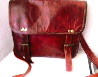 Men's brown leather bag / S 40