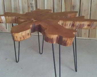 Cypress Live Edge Slab Coffee Table