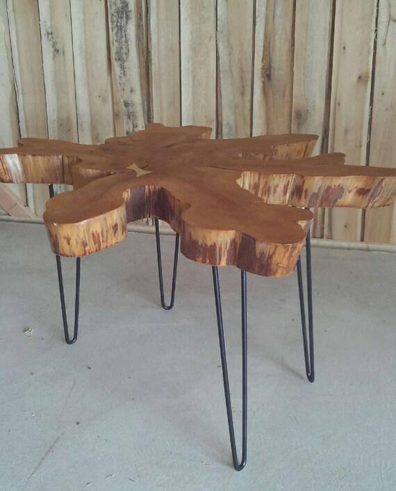 Cypress live edge slab coffee table for Cypress slab coffee table