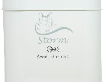 Unique 'Feed The Cat' Treat Tin with Personalised Cat Illustration and Name