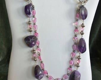 Handmade natural amethyst and Czech glass necklace