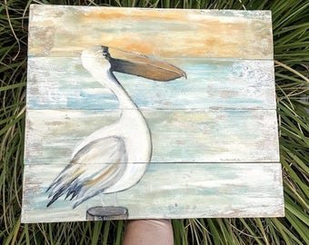 Reclaimed Wood Pelican. Distressed Louisiana Decor. Rustic Decor. Reclaimed Wood.