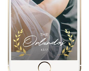 Wedding Geofilter, Wedding Snapchat Filter, Gold Wreath Wedding Snapchat Geofilter, Snapchat Geofilter, Wedding Geotag, Gold Leaf Geofilter