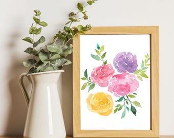 Botanical Print, Peonies print, Flowers Printable art, Peonies watercolor painting, Floral Art, Hand Drawn, Fine Art, Home decor, Wall art