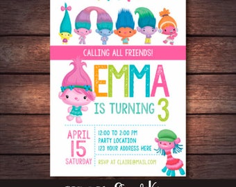 Trolls Birthday Party, Trolls Birthday Invitation, Trolls Invites, Trolls Printables, Trolls Invitation, Trolls Movie