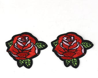 2pcs Red Rose Flower Embroidery Iron on Patch, DIY Embroidered Patch, US Seller
