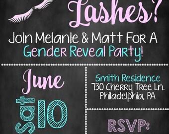Staches or Lashes Gender Reveal Invite, Gender Reveal Invite