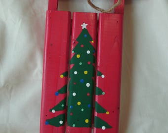 Christmas Decoration, Hand Painted Sled, Merry Christmas, Red and Green, Handmade, Plaque, String for Hanging, Christmas Tree, Red Sled,