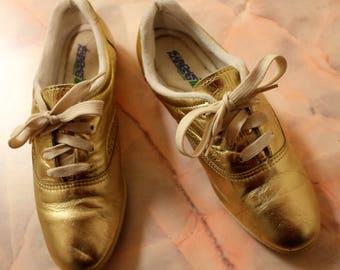 Vintage 80s Gold Leather Sneakers Club Kid US 6 EUR 37