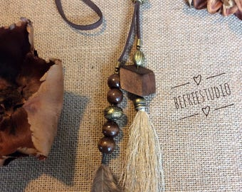 Natural Tassel and Feather Necklace