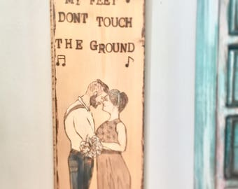 Wood burned wall hanging -- Customized anniversary picture.