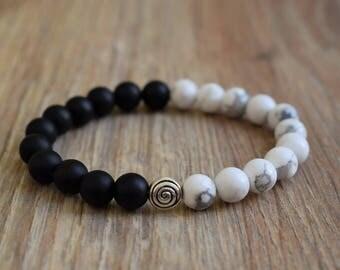 yin yang bracelet howlite bracelet onyx yin yang jewelry balance bracelet ying yang bracelet black white bracelet calming relieve stress