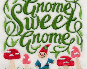 Gnome Sweet Gnome, Embroidered Tea Towel, Gnome Dish Towel, Housewarming Gift, Cute Dish Towel, Drying Cloth