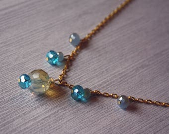 Inspired by the Sea Beaded Necklace-Faceted Glass Beads-Colours of the Ocean