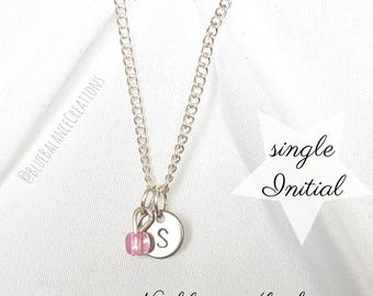 Hand Stamped Initial & Birthstone Necklace, Silver Coin Necklace