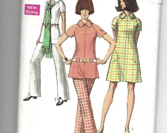 """Vintage 1970 Pattern Simplicity 8689, Misses Dress, tunic and pants pattern, retro, mod, 70's fashion,  Size 14, bust 36"""""""