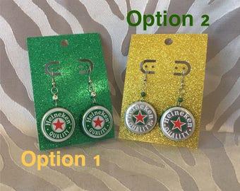 Recycled Bottle Cap Earrings- Heineken Beer