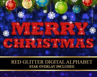 Christmas Red Glitter Digital Alphabet, Numbers, Punctuation Clip Art, Christmas Letters, Red Glitter Clipart - Instant Download