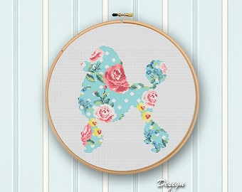 Dog Cross Stitch Pattern Modern POODLES Counted Chart Floral Dog Silhouette Flowers Cross Stitch Watercolor Home Decor DIY Instant Download