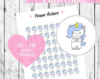 Yoga Stickers, Printable Planner Stickers, Unicorn stickers, Unicorn Yoga stickers, Workout printable stickers, digital stickers