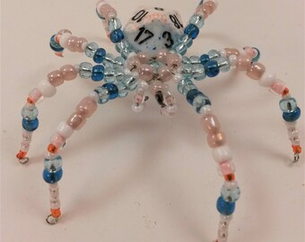 Blue and Peach D20 beaded spider