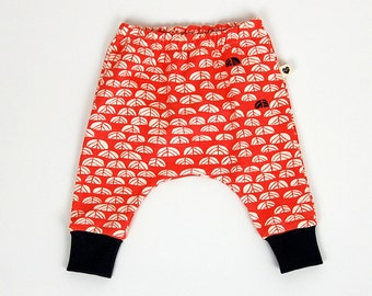 Harem pants, coral sproutlet, organic baby clothes, toddler clothes, gift for baby, gift for toddler